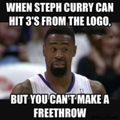 """Beautiful Funny NBA Memes Picture Quotes """"When Steph curry can hit 3's from the logo, but you can't make a freethrow."""""""