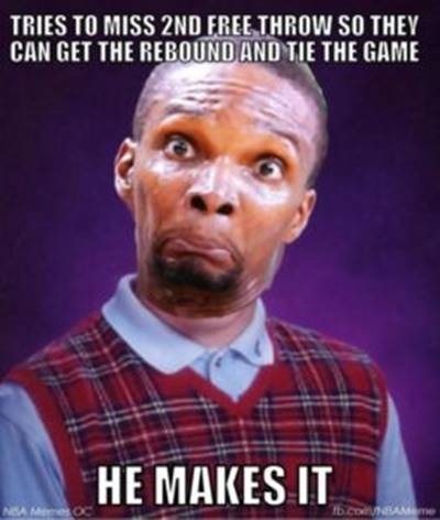 """45 Funny NBA Memes funny nba memes pictures """"Tries to miss 2nd free throw so they can get the rebound and tie the game he makes it."""""""