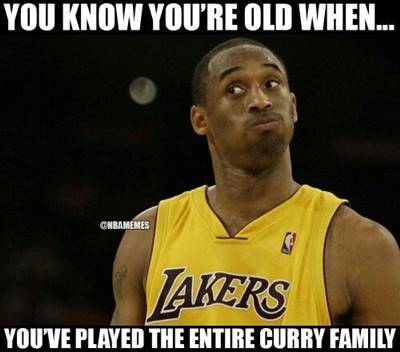 """Most Funny NBA Memes """"You know you're old when… You've played the entire curry family."""" Funny Pun for Laugh"""