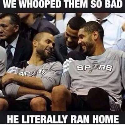 """Best Funny NBA Meme """"We whooped them so bad he literally ran home."""""""