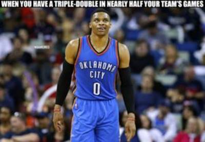 """45 Funny NBA Memes Funny Meme NBA """"When you have a triple-double in nearly half your team's games."""""""