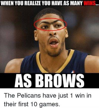 """45 Funny Pun for Laugh Funny NBA Meme Pics """"When you realize you have as many wins… As brows."""""""