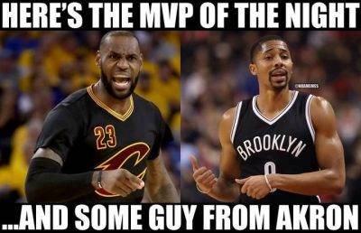 """45 Funny NBA Memes Funny Pictures Of People """"Here's the MVP of the night …And some guy from Akron."""""""
