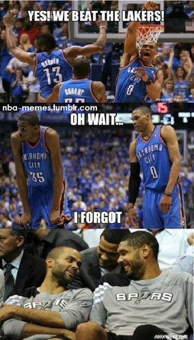 """45 Funny NBA Memes Funny Pun for Laugh Funny Pictures Without Captions """"Yes! We beat the Lakers! Oh wait… I forgot."""""""
