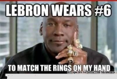 """45 Funny NBA Memes Funny Pun for Laugh FUnny NBA Memes Image """"Lebron wears #6 to match the rings on my hand."""""""
