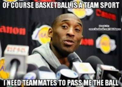 """45 Funny NBA Memes Funny Pun for Laugh James FUnny NBA Memes """"Of course basketball is a team sport I need teammates to pass me the ball."""""""