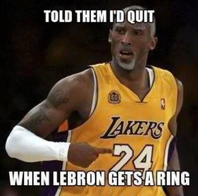 """45 Funny NBA Memes Funny Pun for Laugh FUnny NBA Memes Images """"Told them I'd quit when Lebron gets a ring."""""""