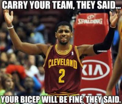 """Funny NBA season Meme """"Carry your team, they said… Your bicep will be fine, they said."""""""