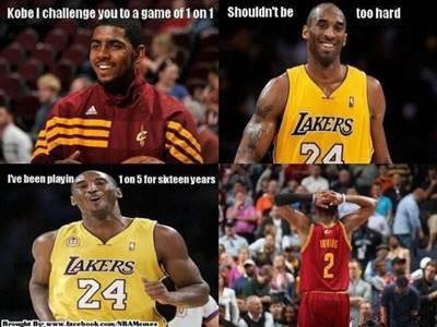 """45 Funny NBA Memes Funny Pun for Laugh Hilarious NBA Meme """"Kobe I challenge you to a game of 1 on 1 shouldn't be too hard I've been playing 1 on 5 for sixteen years."""""""