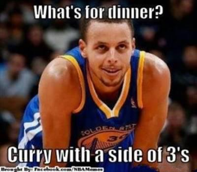 """45 Funny NBA Memes Funny Pun for Laugh Funny NBA Memes Lebron """"What's for dinner? Curry with a side of 3's"""""""