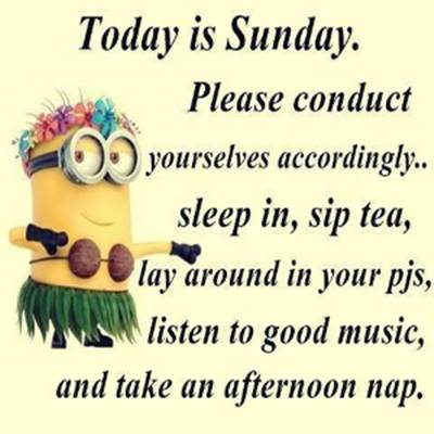 A Sunday Wish Quotes Images - Today is Sunday, please conduct yourself accordingly... sleep in, sip tea, lay around in your PJs, listen to good music, and take an afternoon nap.
